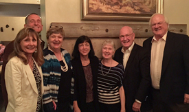 photo of members of Krauss & Co., Richard's first CPA firm in 1980, at reunion at Rancho Santa Fe Inn. From left:  Maralee Blain, Richard, Betsy Marler, Karen Northway, Judy Hurley, Ted Krauss, Richard Turnblad